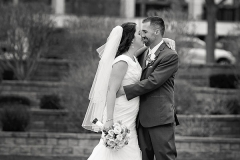 Black-and-white-photo-of-bridge-and-groom