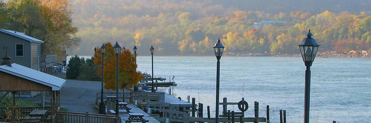 Niagara River with autumn trees in Lewiston, NY